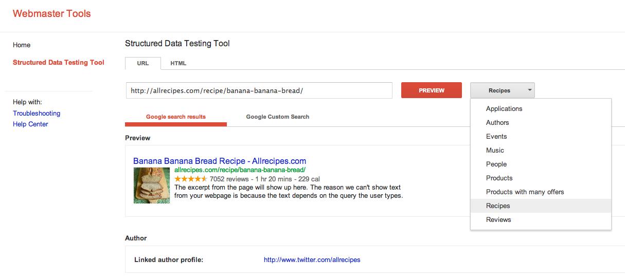 structured data testing tool screenshot